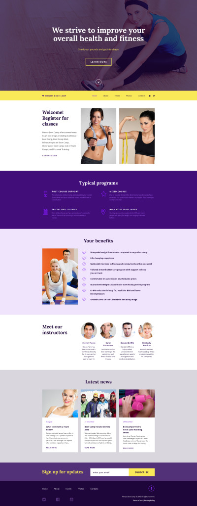 Fitness Responsive Weboldal Sablon