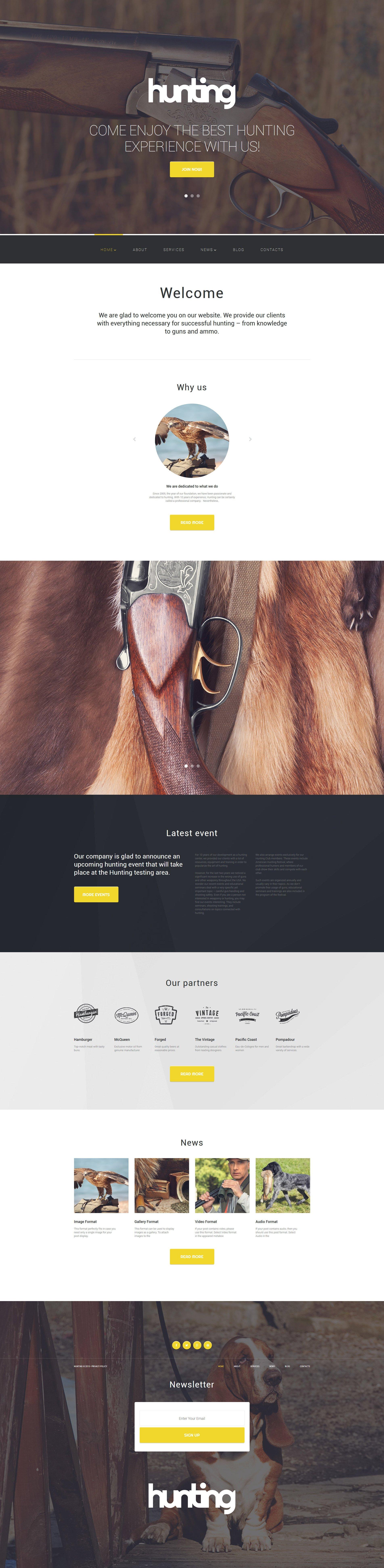 Reszponzív Hunting Club WordPress sablon 56020