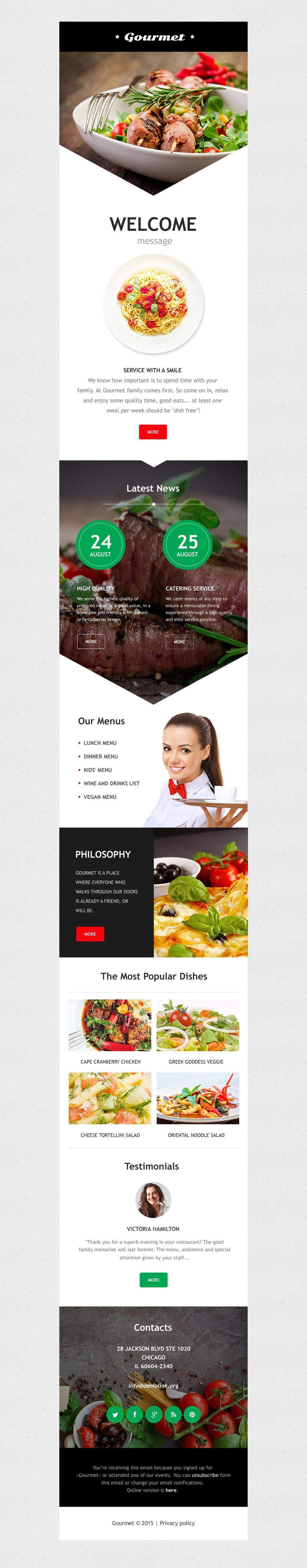 Reszponzív Kávézó és étterem Hírlevél sablon 56079