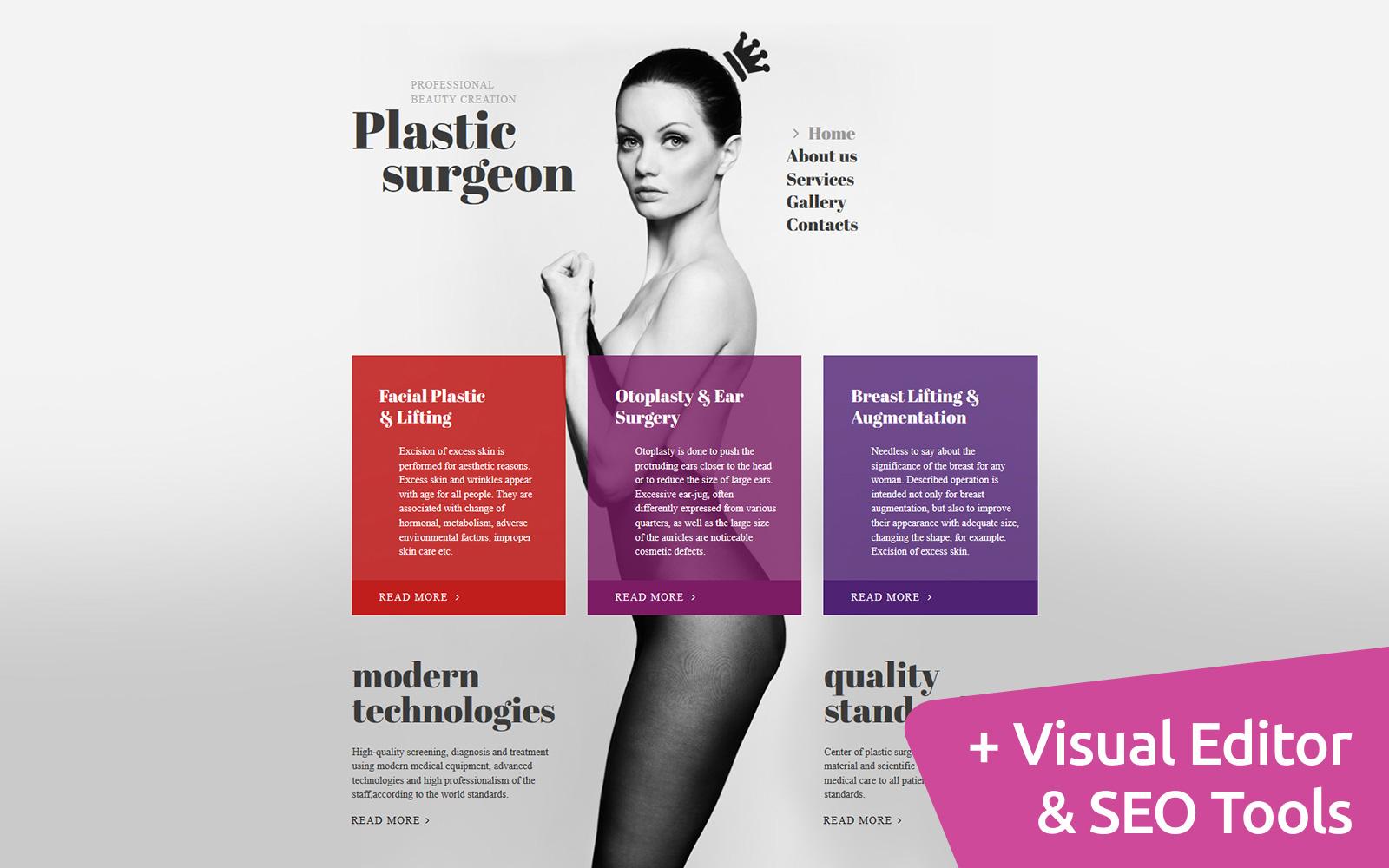Reszponzív Plastic Surgeon Moto CMS 3 sablon 56046