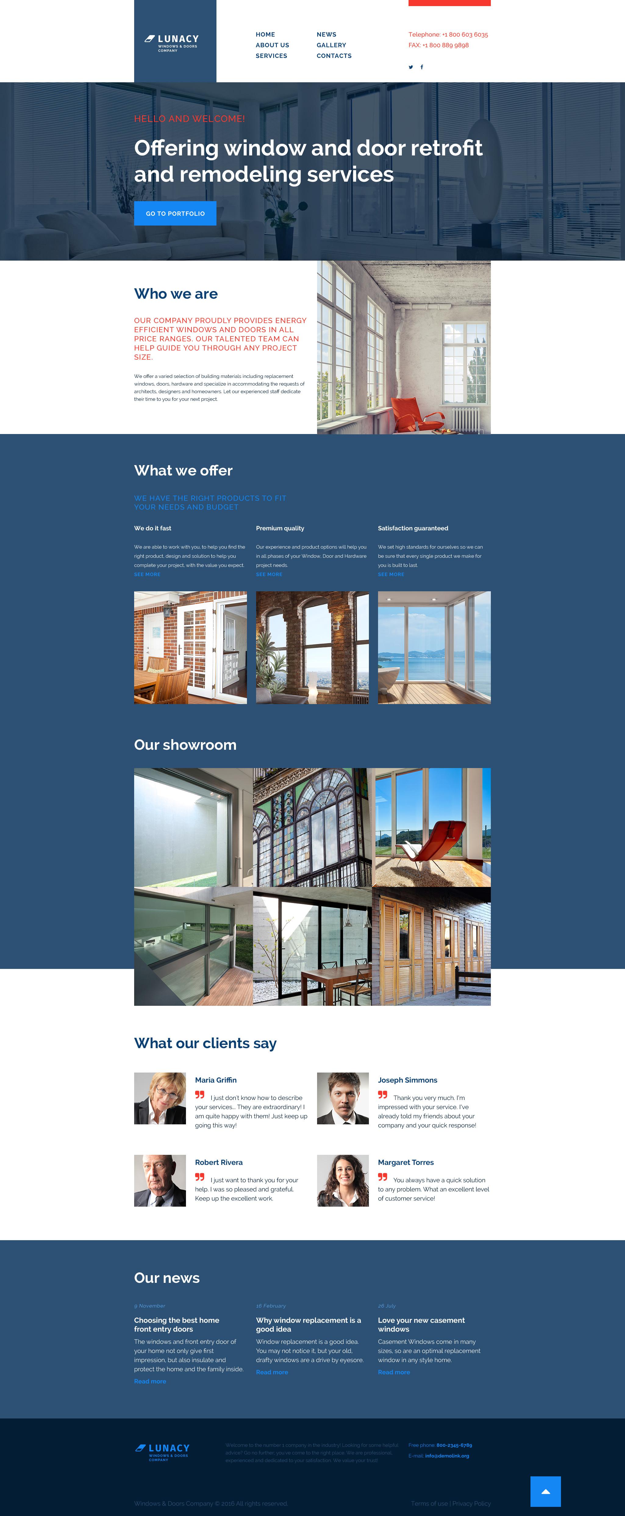 Reszponzív Windows  Doors Weboldal sablon 56018