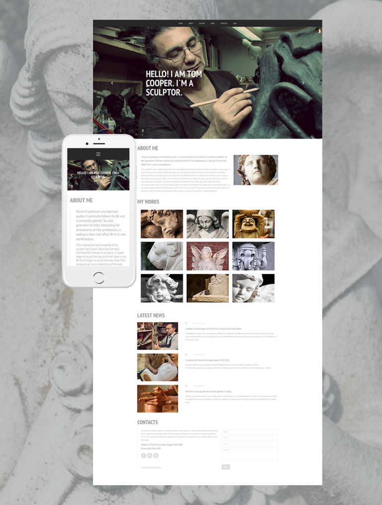 Sculpture Responsive Moto CMS 3 Template New Screenshots BIG