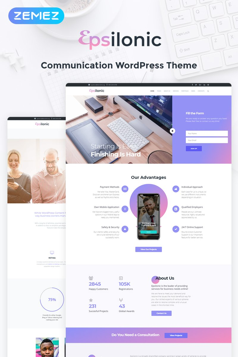 "Tema De WordPress ""Communication"" #56025 - captura de pantalla"