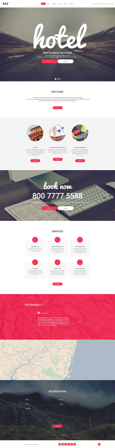 Responsive Tema De WordPress #56077 para Sitio de  para Sitio de Hoteles