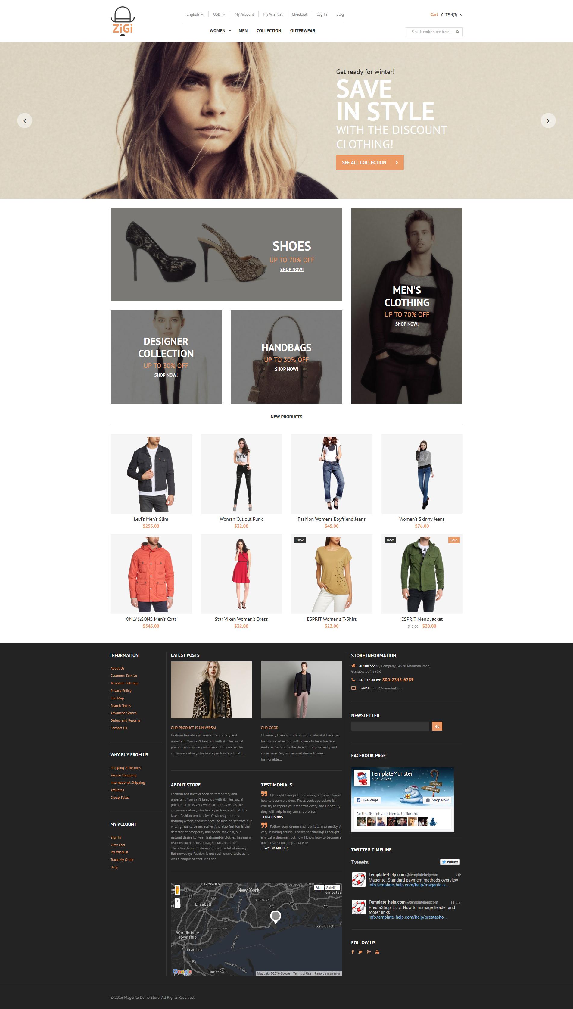 Tema Magento Flexível para Sites de Roupa №56098 - screenshot