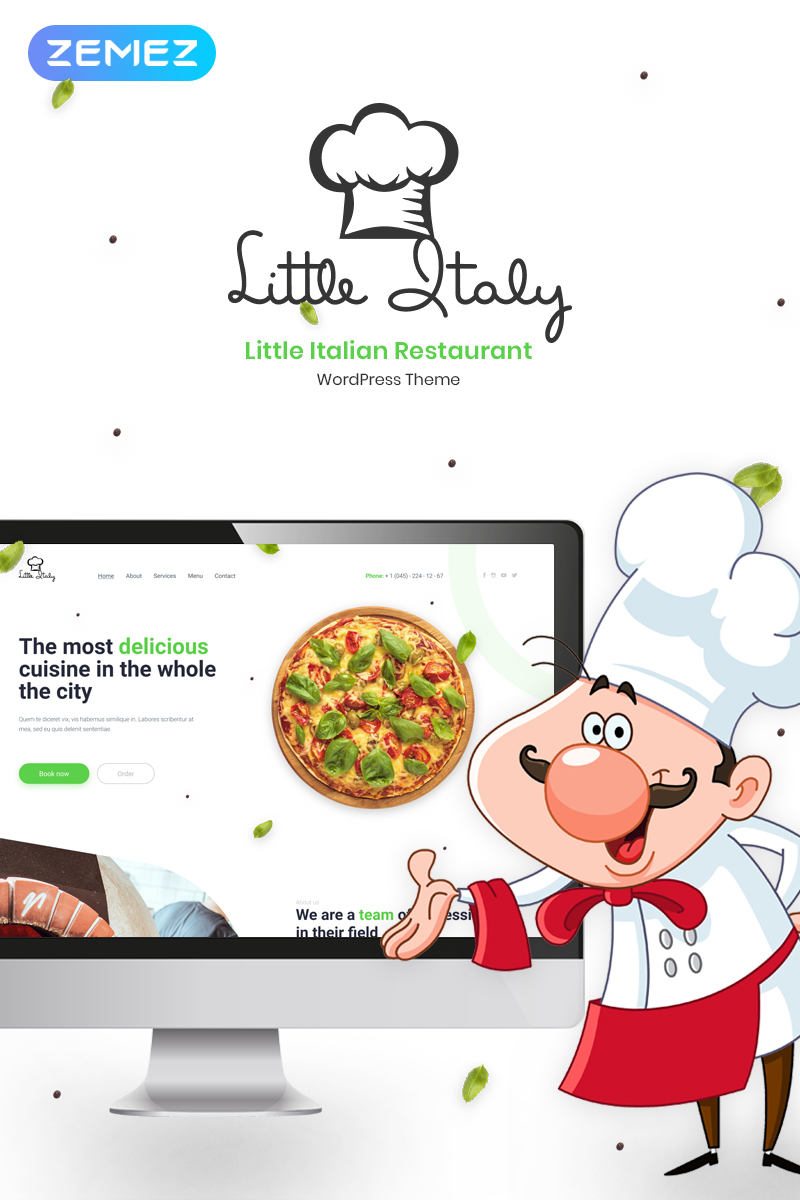 "Tema WordPress Responsive #56097 ""Little Italy"""
