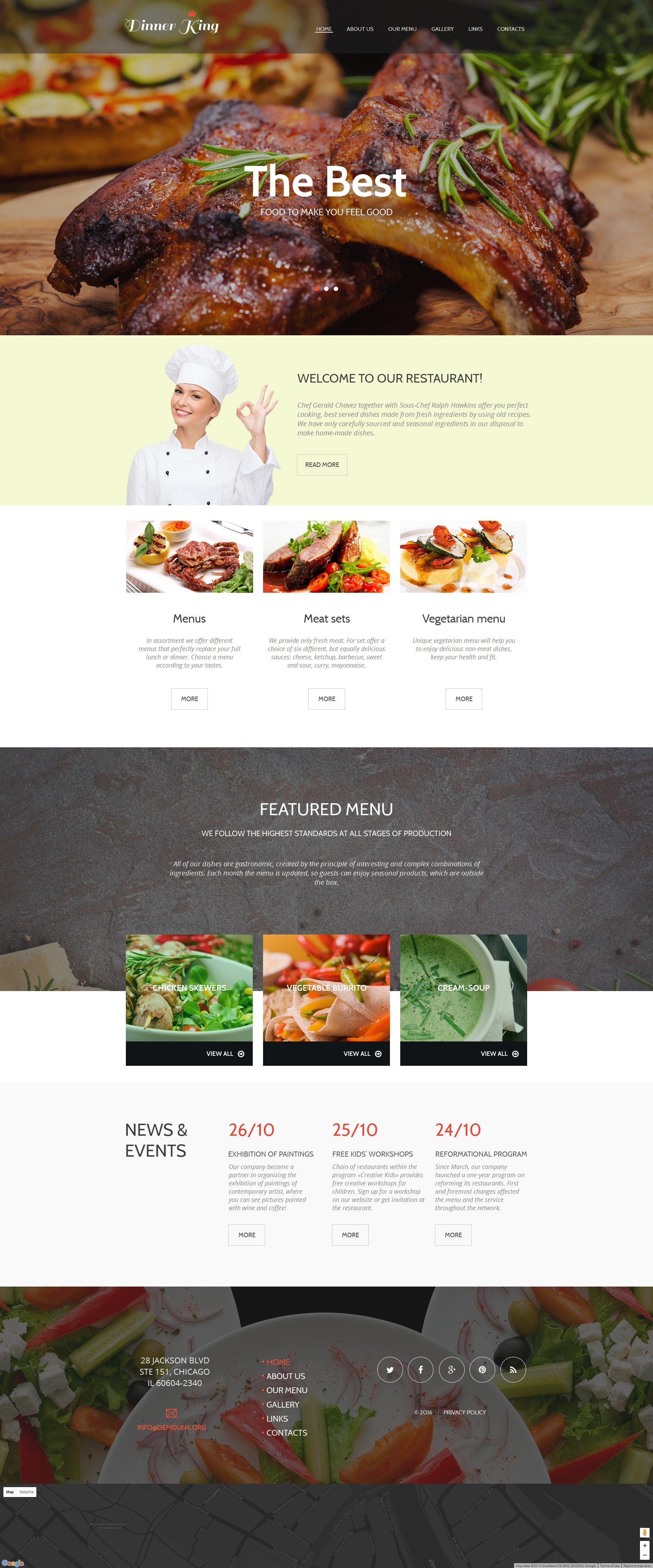Template Moto CMS HTML para Sites de Cafeteria e Restaurante №56080