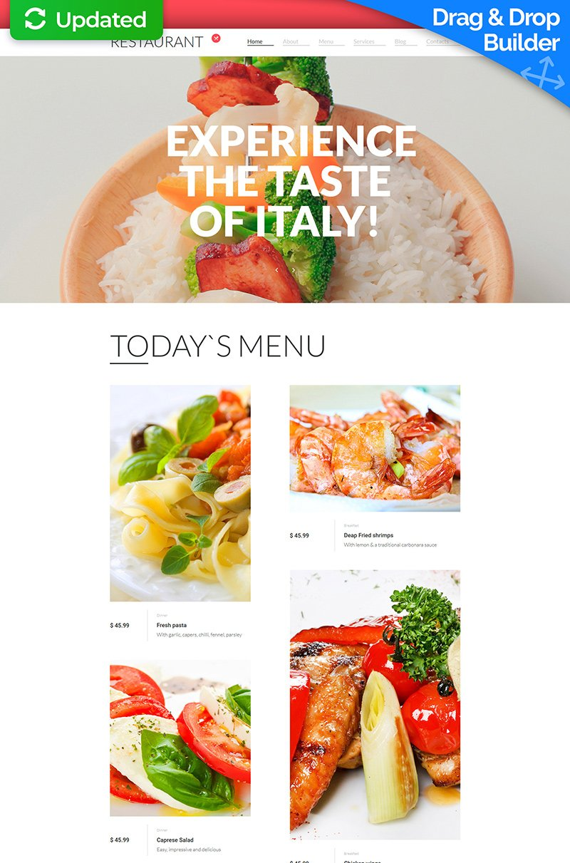 Templates Moto CMS 3 Flexível para Sites de Cafeteria e Restaurante №56055