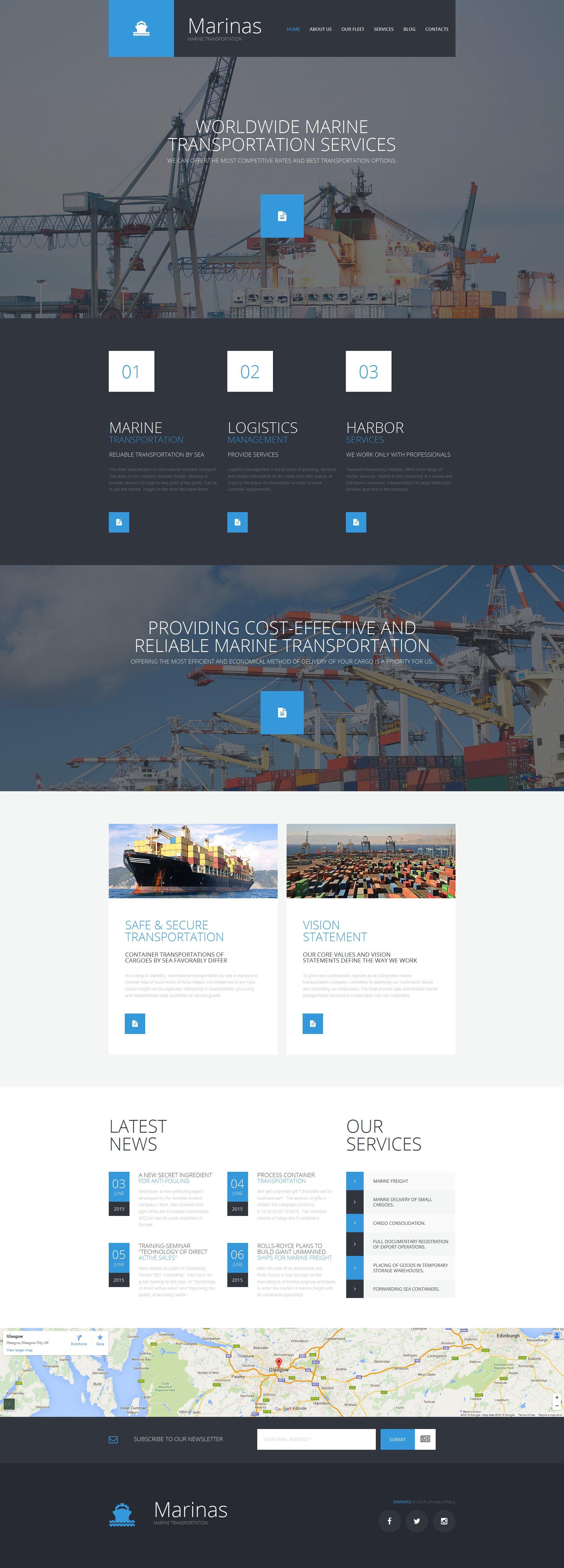 Templates Moto CMS 3 Flexível para Sites de Marítimos №56057