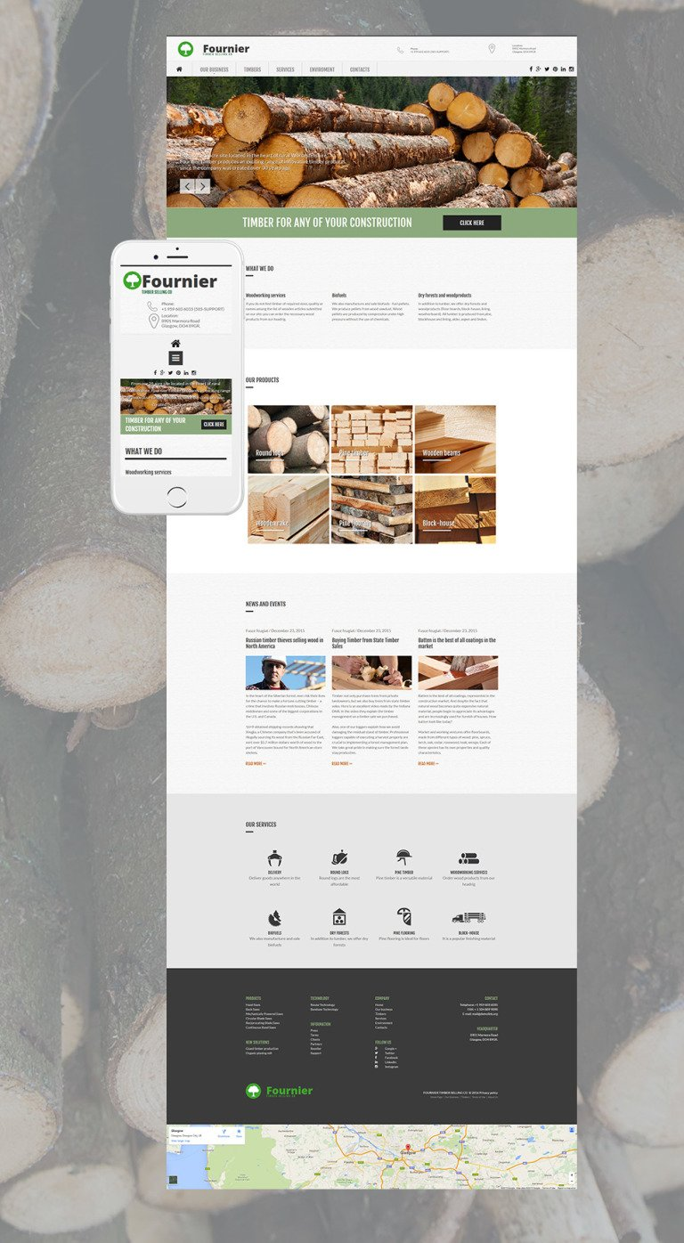 Timber Responsive Moto CMS 3 Template New Screenshots BIG