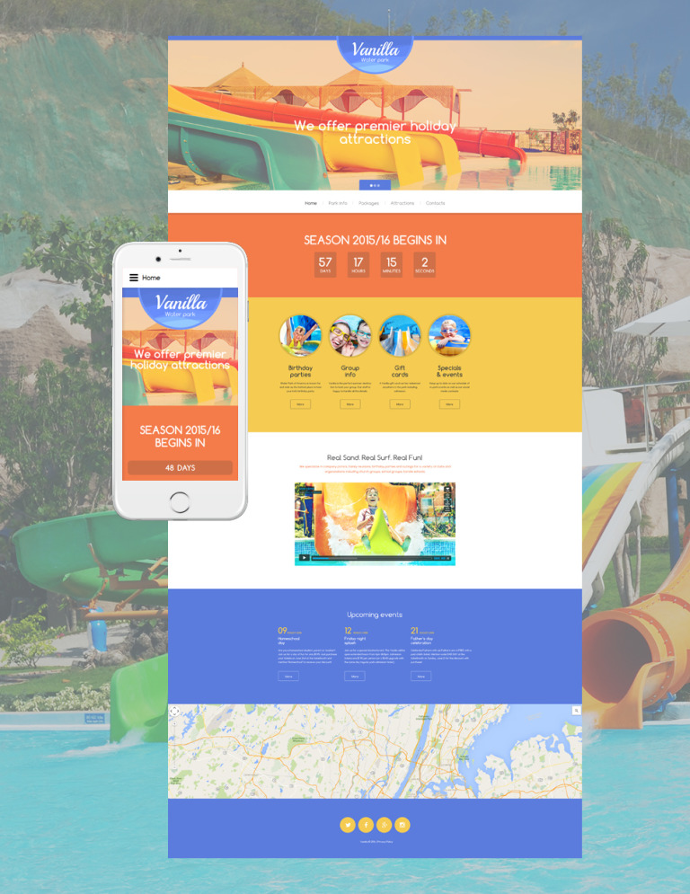 Vanilla Water Park Website Template New Screenshots BIG