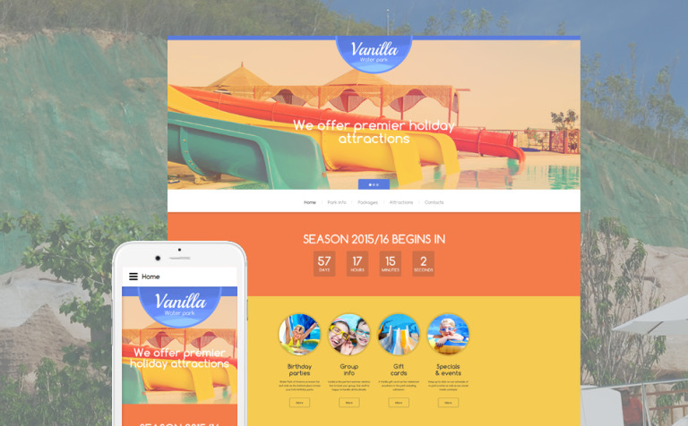 Water park website template vanilla water park website template new screenshots big pronofoot35fo Image collections