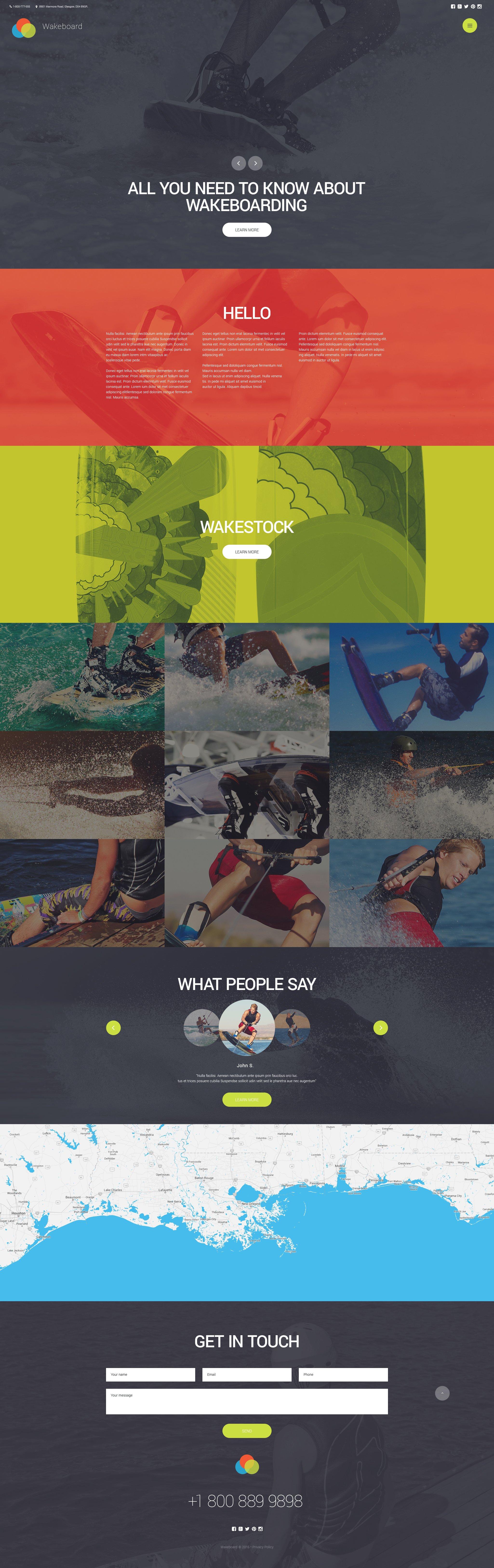 """Wakeboarding Club"" Responsive Website template №56072"