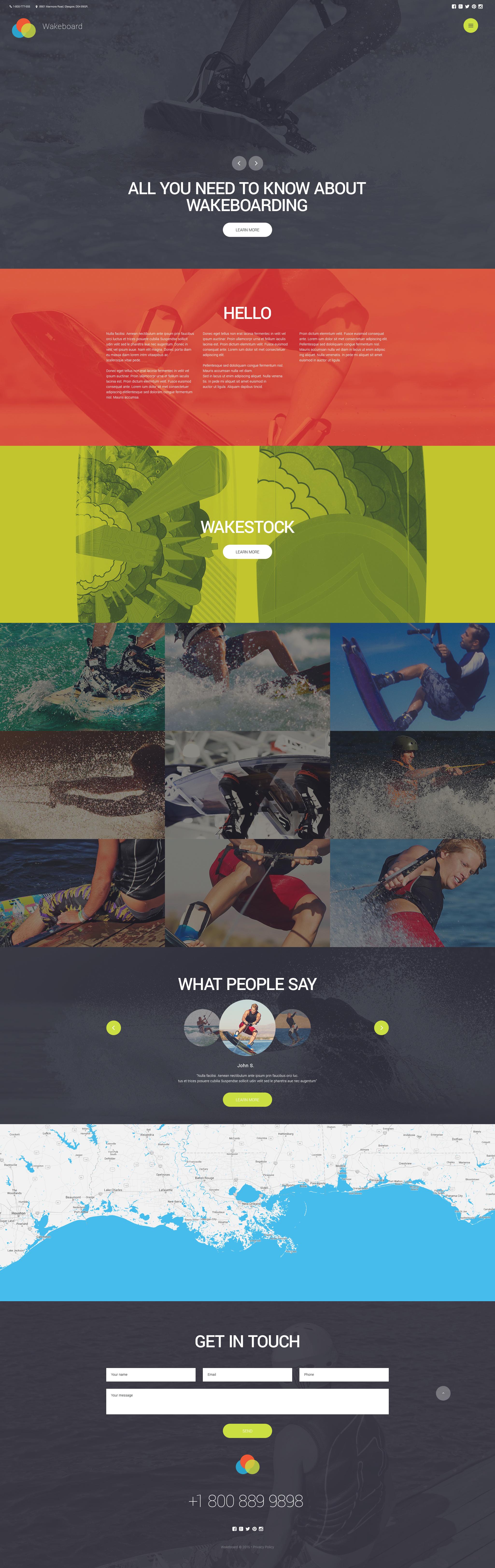 "Website Vorlage namens ""Wakeboarding Club"" #56072"