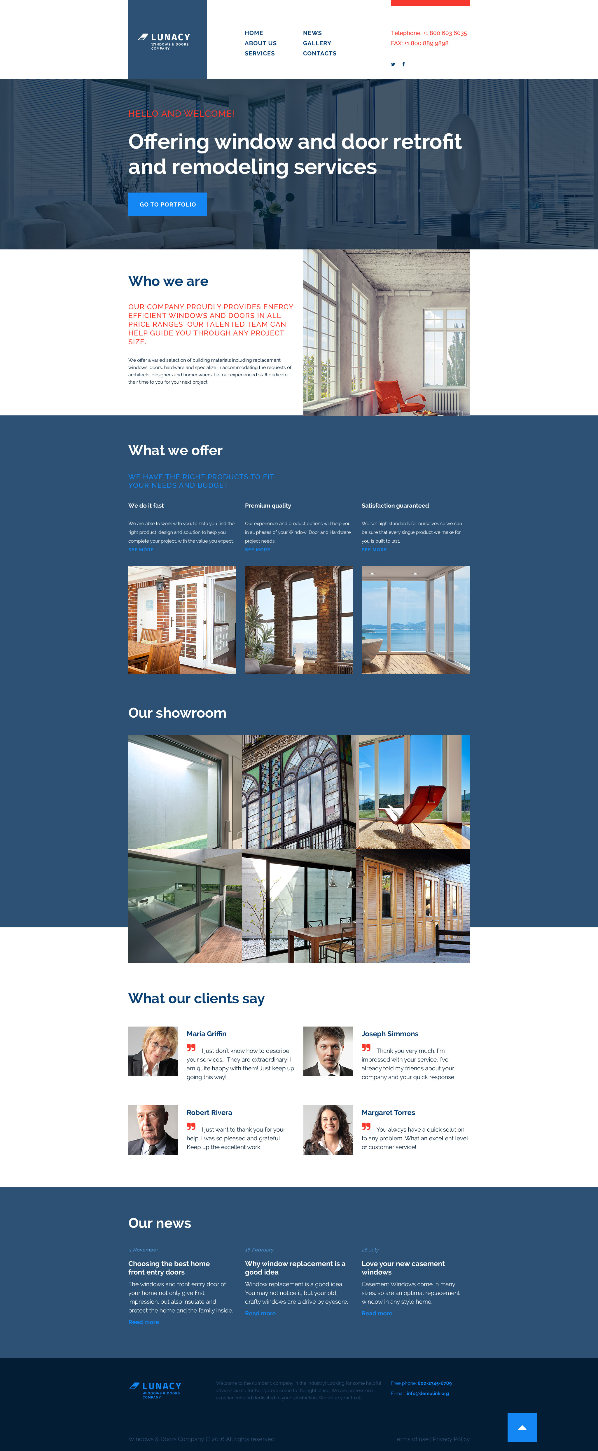 """Windows  Doors"" Responsive Website template №56018"