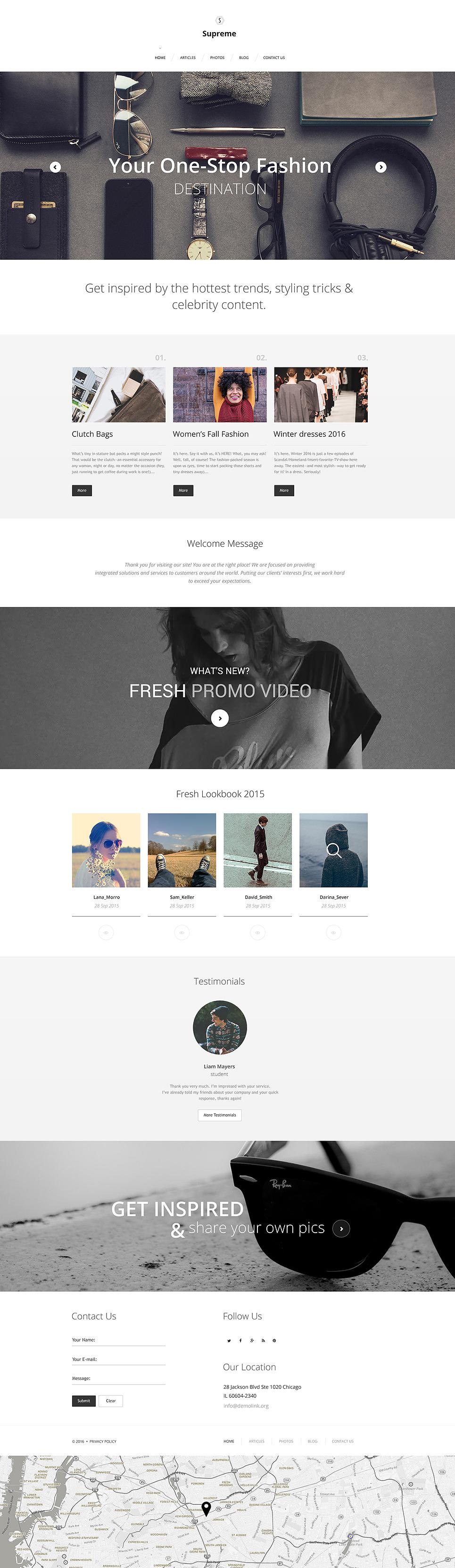 Шаблон Supreme сайта на тему мода #56019