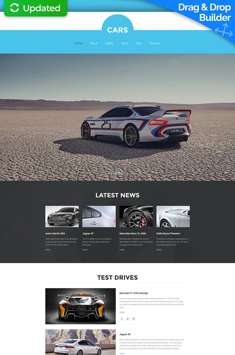 Car web theme with sticky menu
