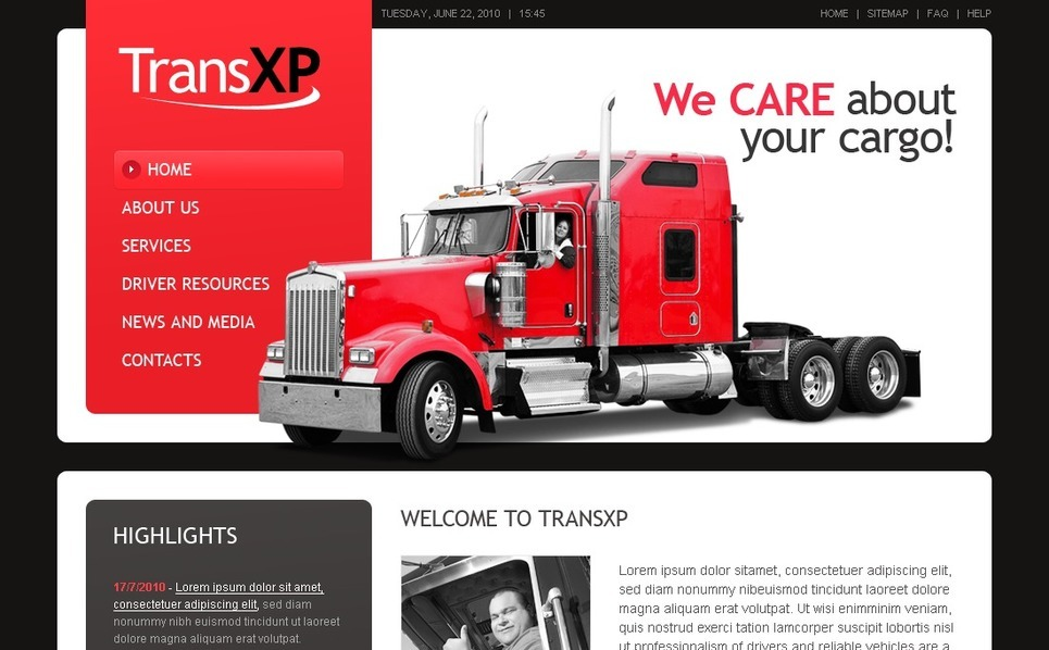 Modèle PSD  pour site de services de camionnage New Screenshots BIG