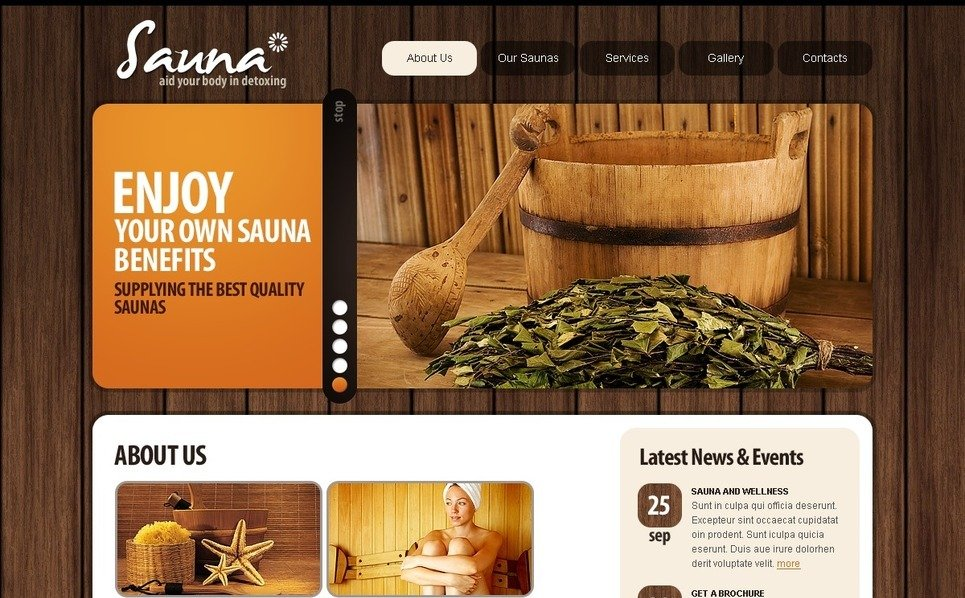 Template PSD  #56191 per Un Sito di Sauna New Screenshots BIG