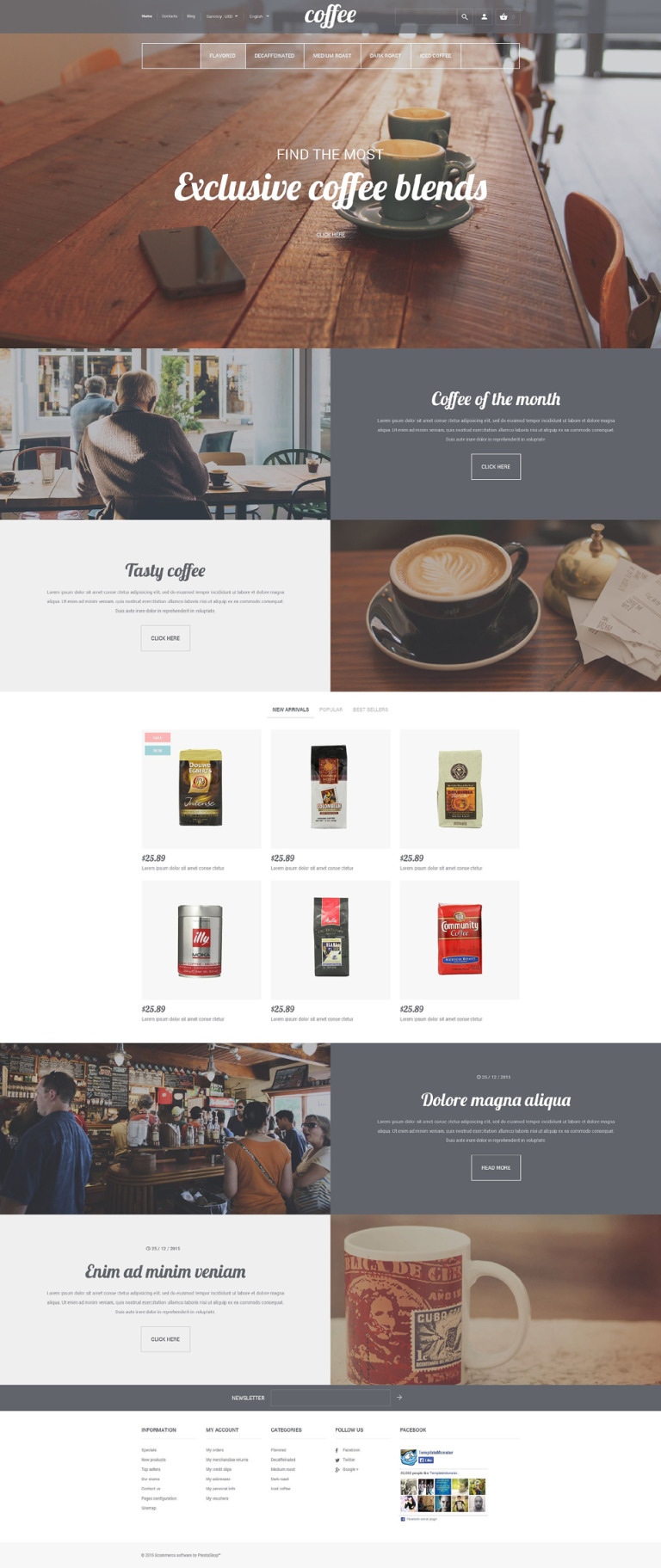 Coffee House PrestaShop Theme New Screenshots BIG