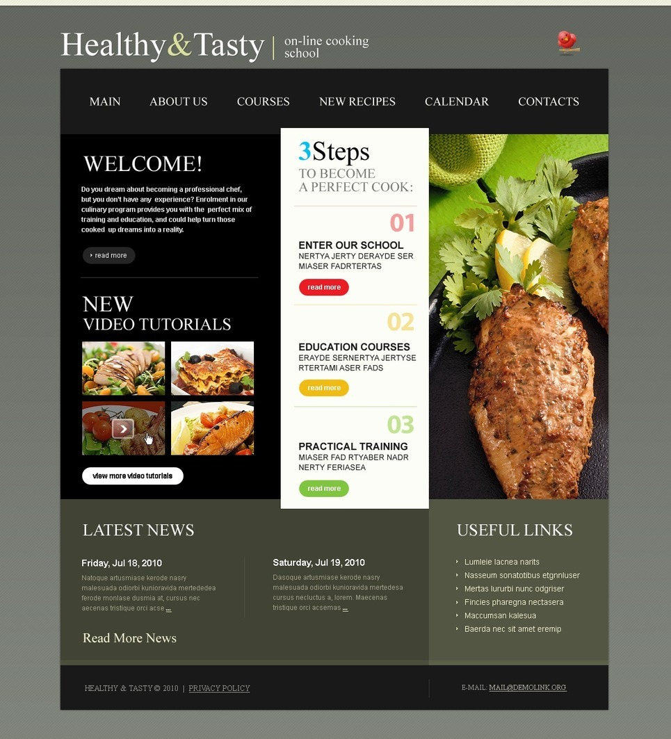 Cooking School PSD Template New Screenshots BIG