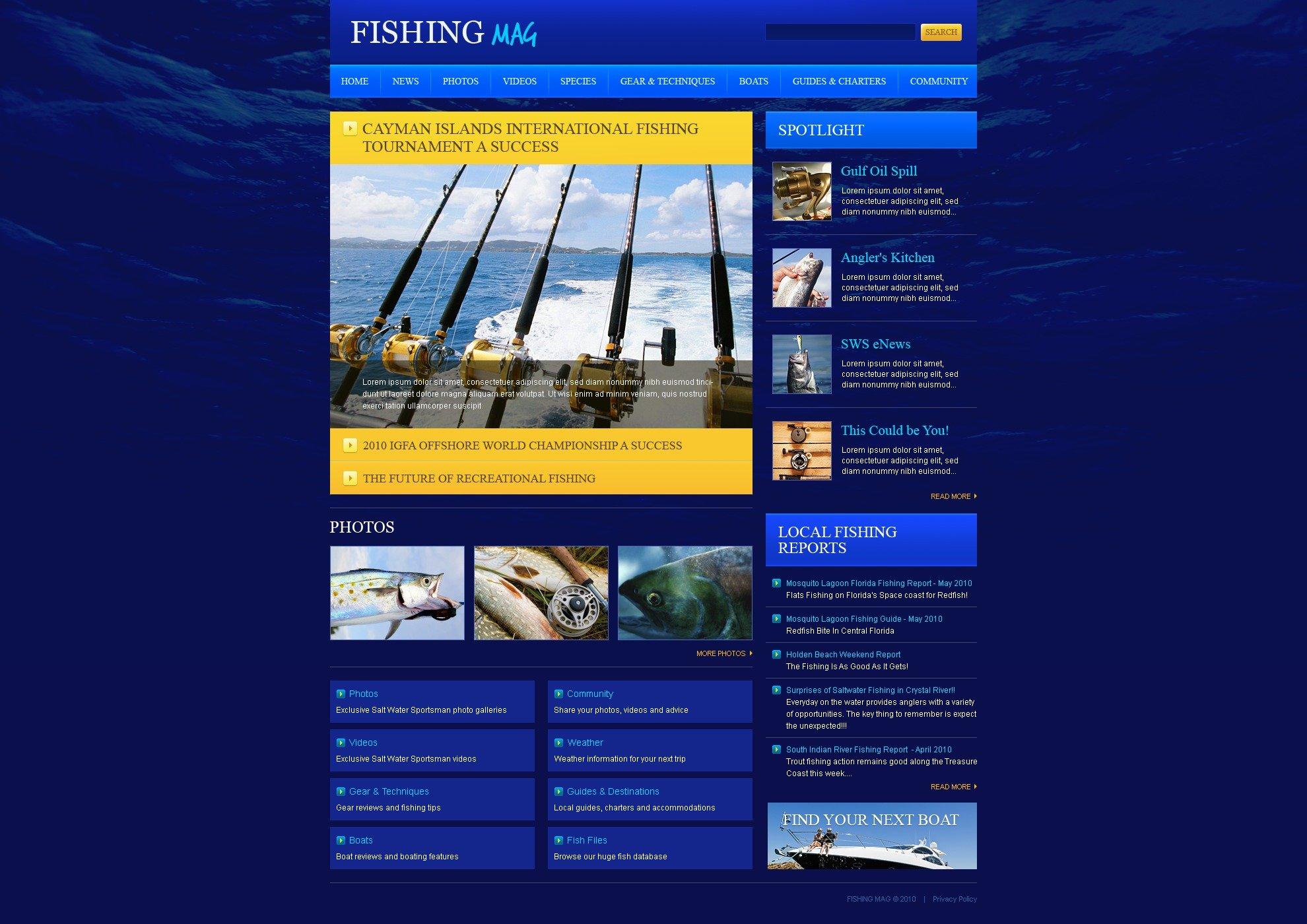 Fishing PSD Template