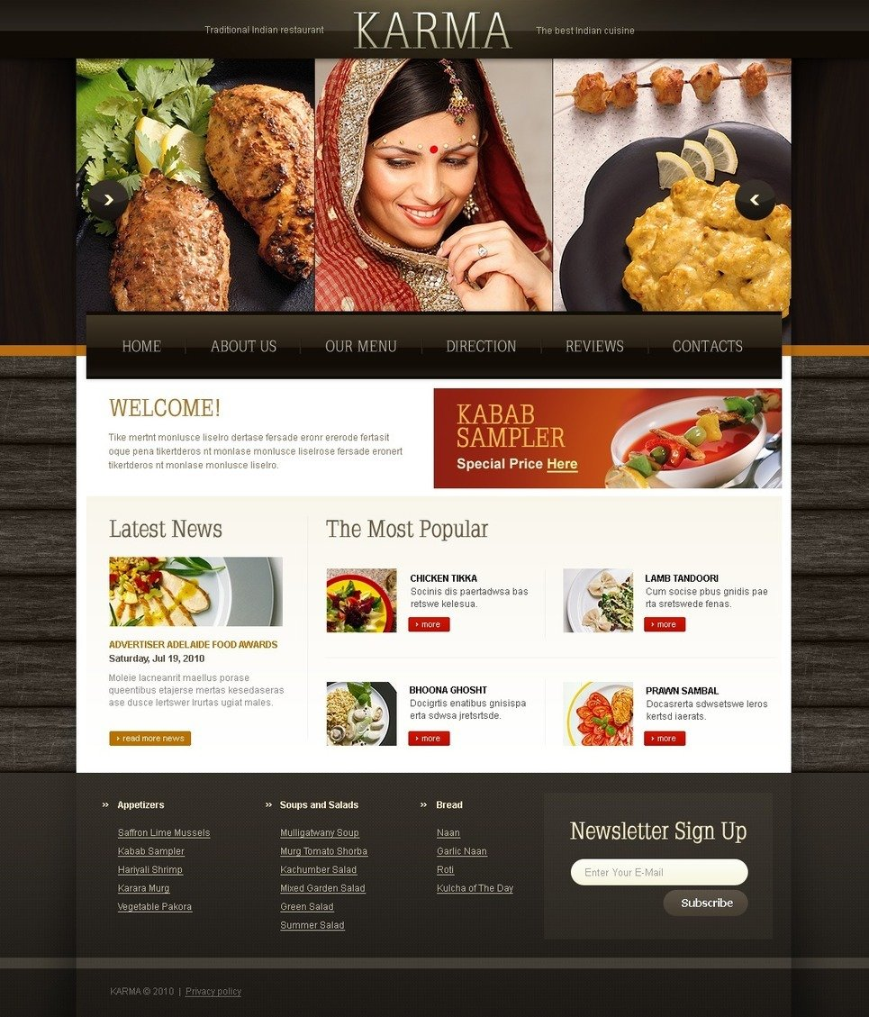 Indian Restaurant PSD Template New Screenshots BIG