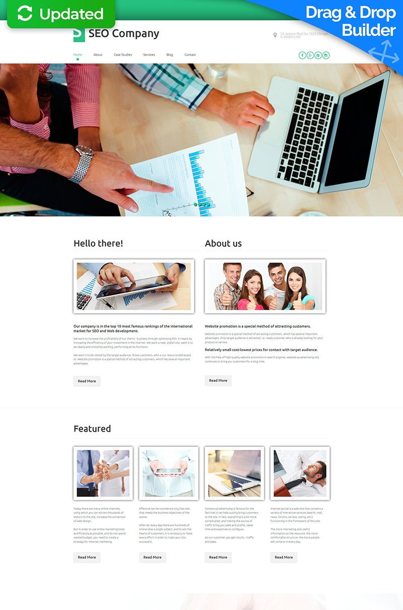 Modèle Moto CMS 3 adaptatif pour une agence de marketing #56102 - screenshot