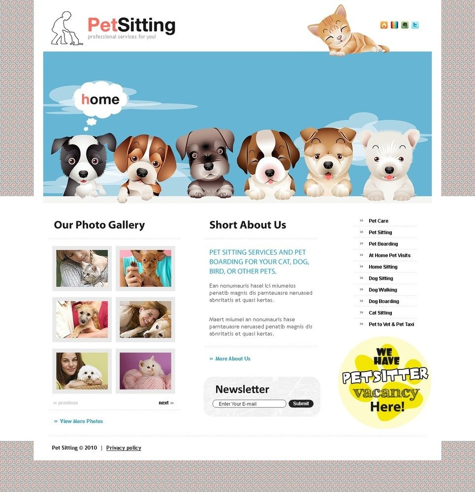 Pet Sitting PSD Template New Screenshots BIG