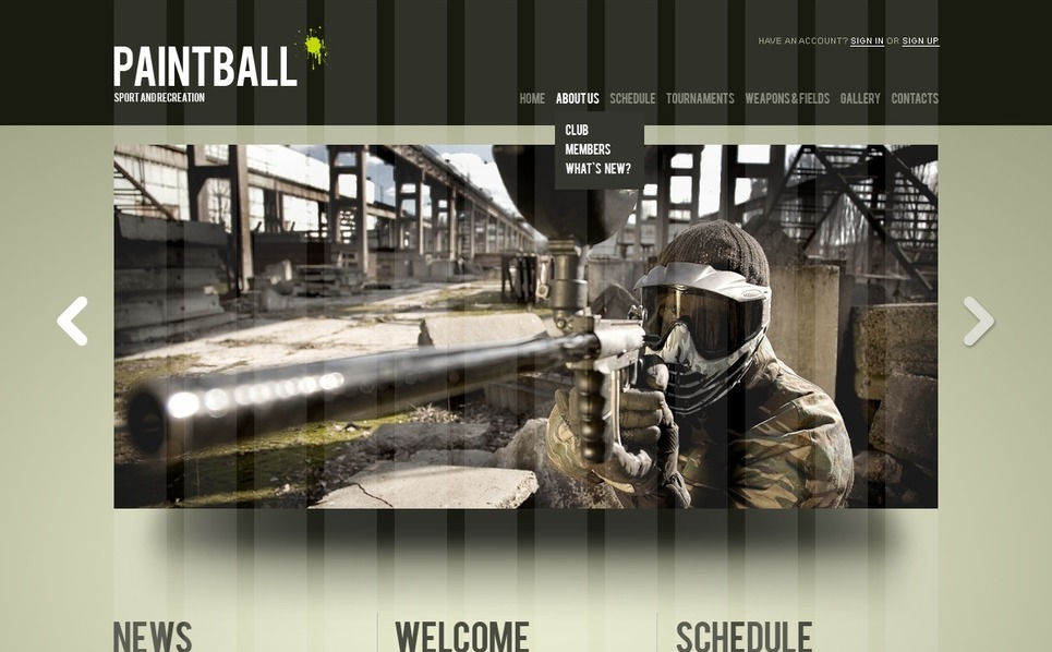 Plantilla PSD #56176 para Sitio de Paintball New Screenshots BIG