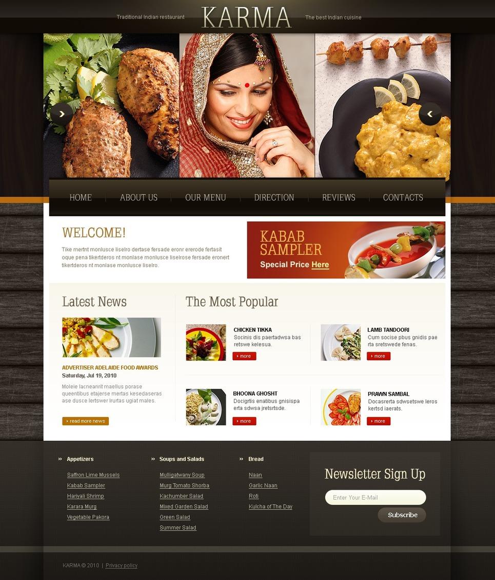 Plantilla PSD #56197 para Sitio de Restaurantes indios