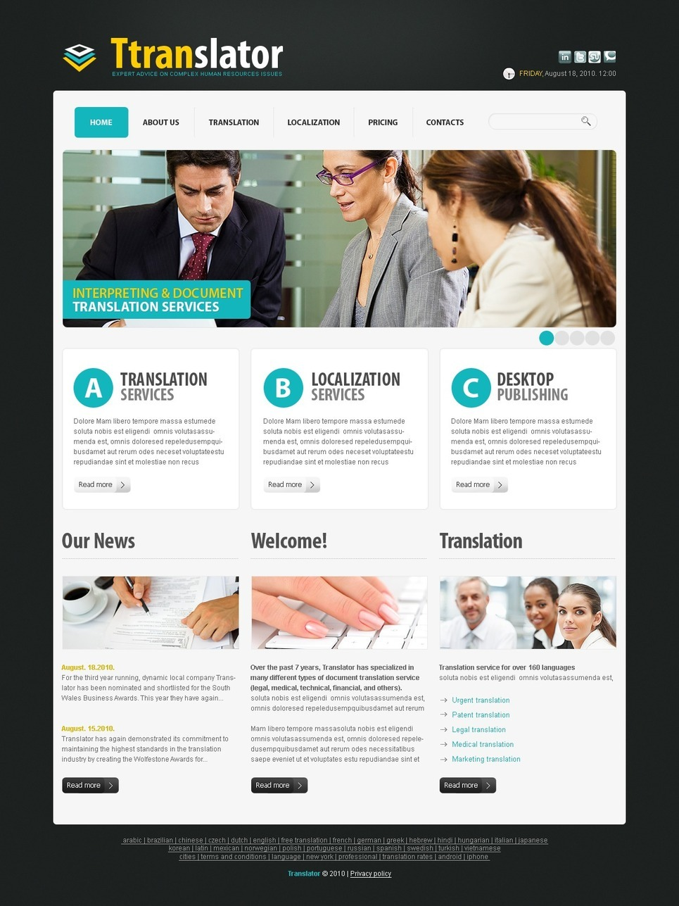 Translation Bureau PSD Template New Screenshots BIG