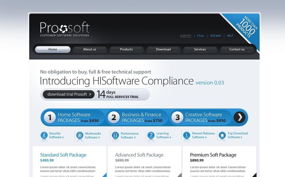 Plantilla PSD #56212 para Sitio de Empresa de software New Screenshots BIG