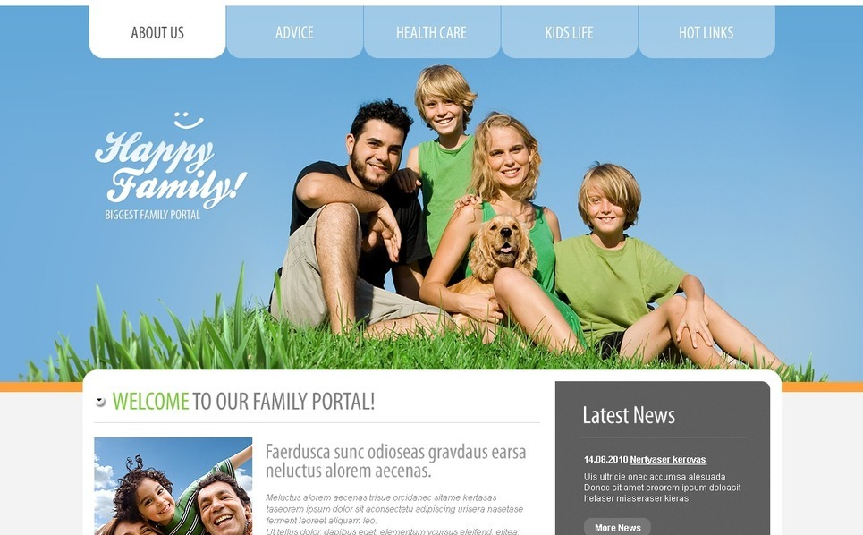 PSD Template over Familie  New Screenshots BIG