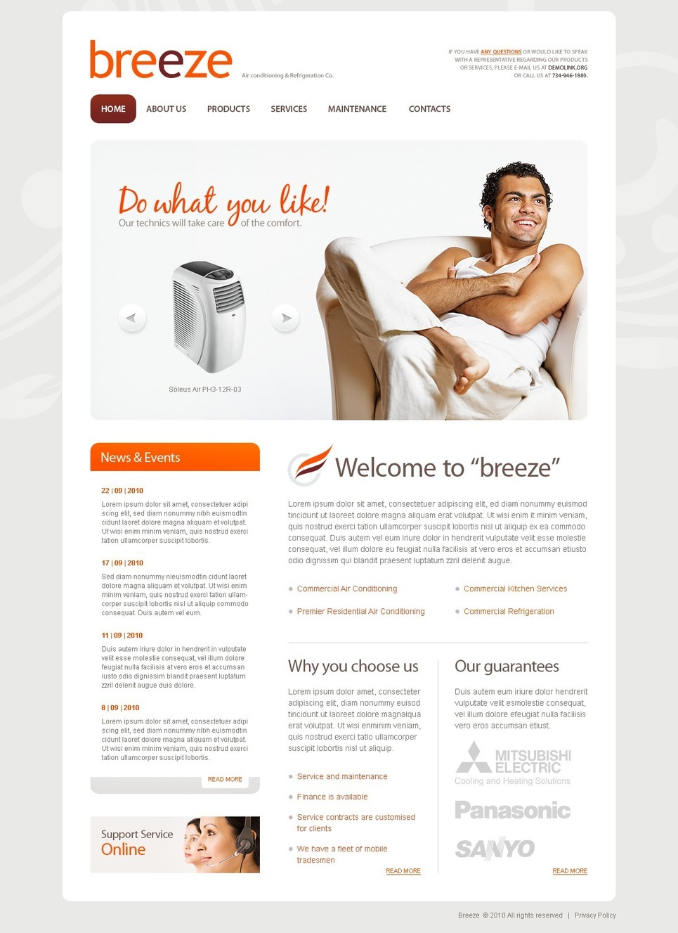 Air Conditioning PSD Template New Screenshots BIG