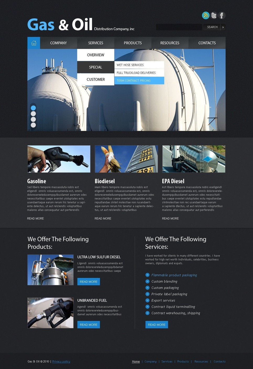 Gas & Oil PSD Template New Screenshots BIG