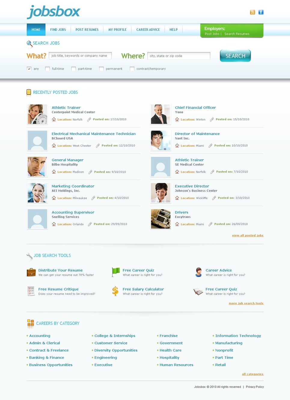 Job Portal PSD Template New Screenshots BIG