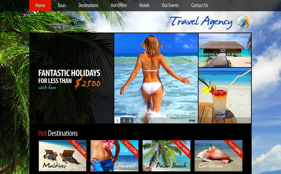 Plantilla PSD #56302 para Sitio de Agencia de viajes New Screenshots BIG