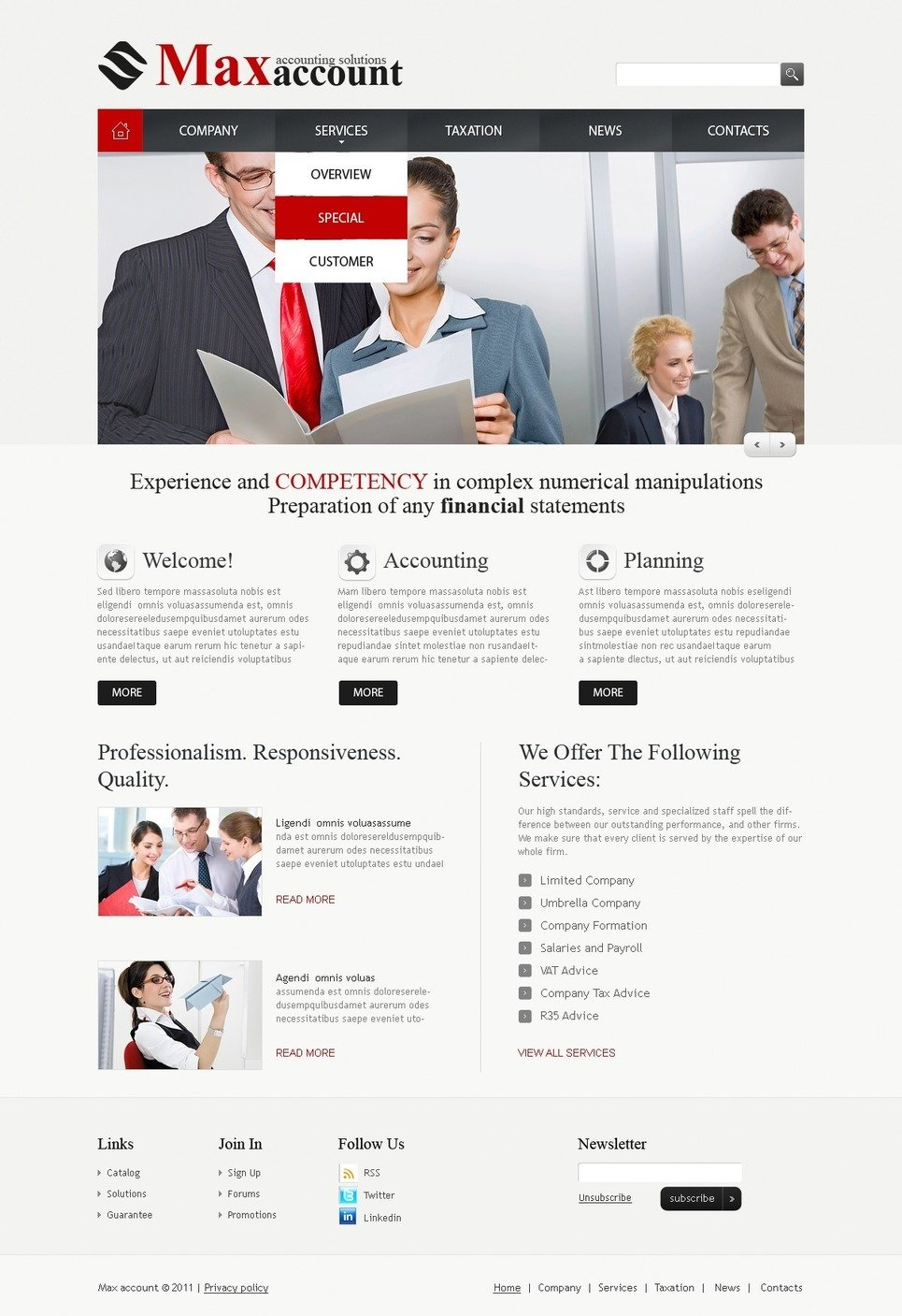 Accounting Website PSD Template New Screenshots BIG