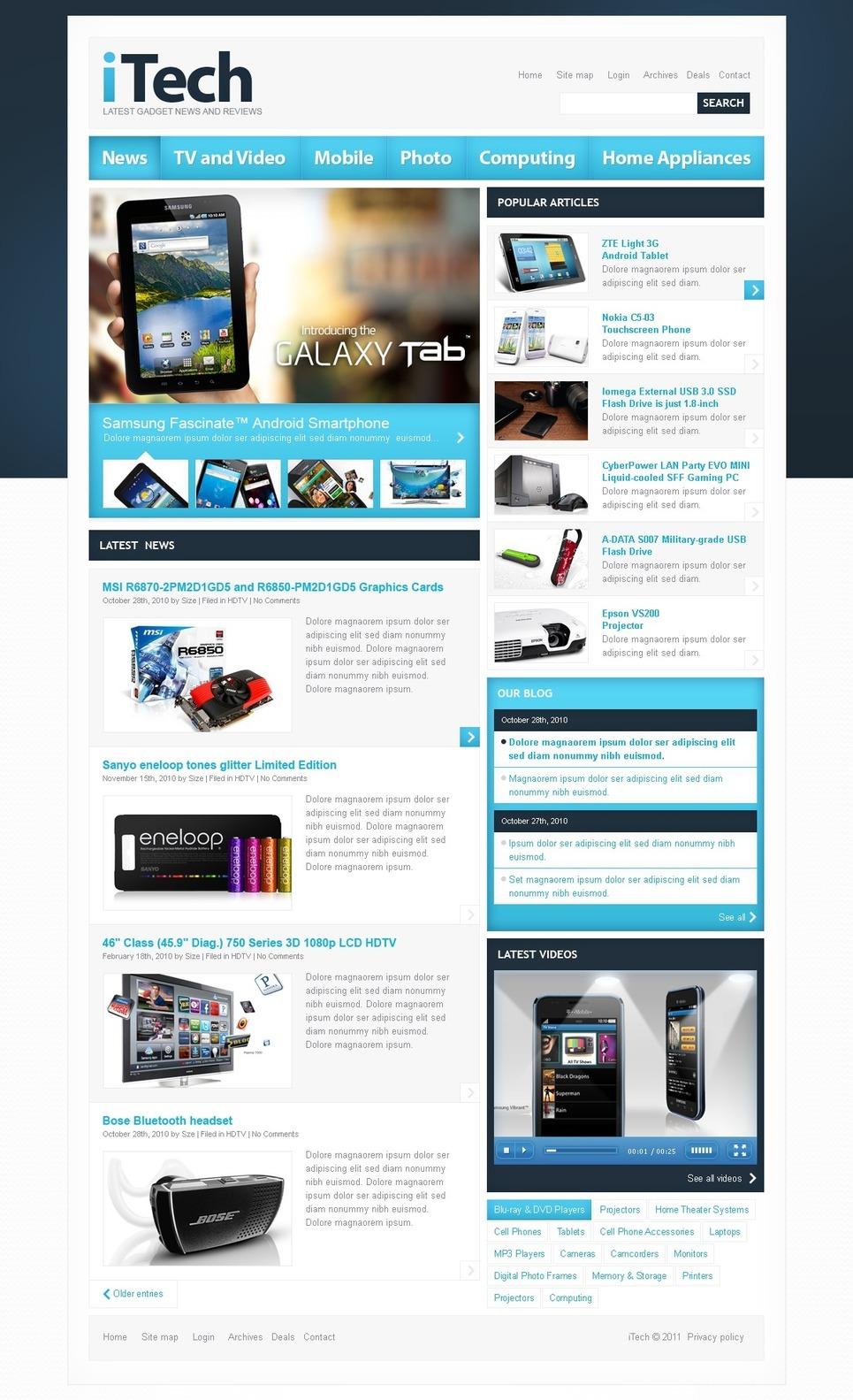 Electronics Review PSD Template New Screenshots BIG