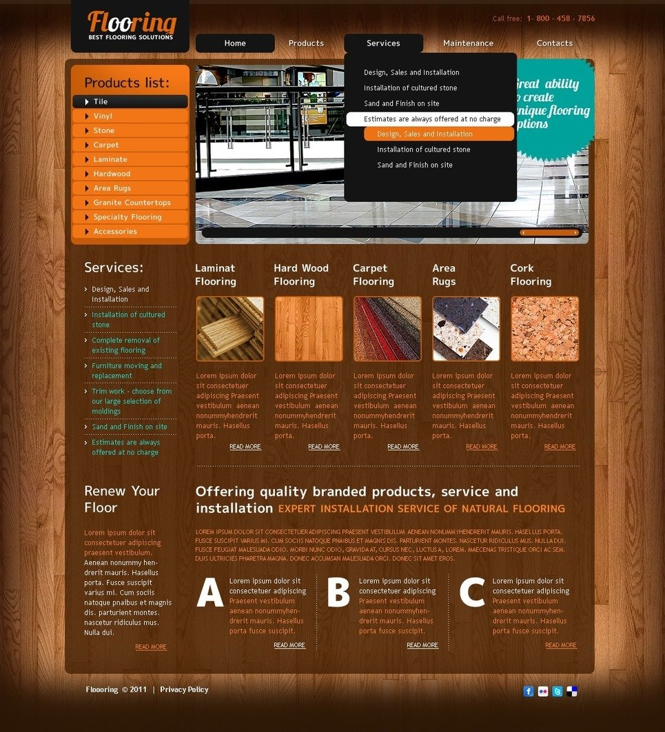 Flooring PSD Template New Screenshots BIG
