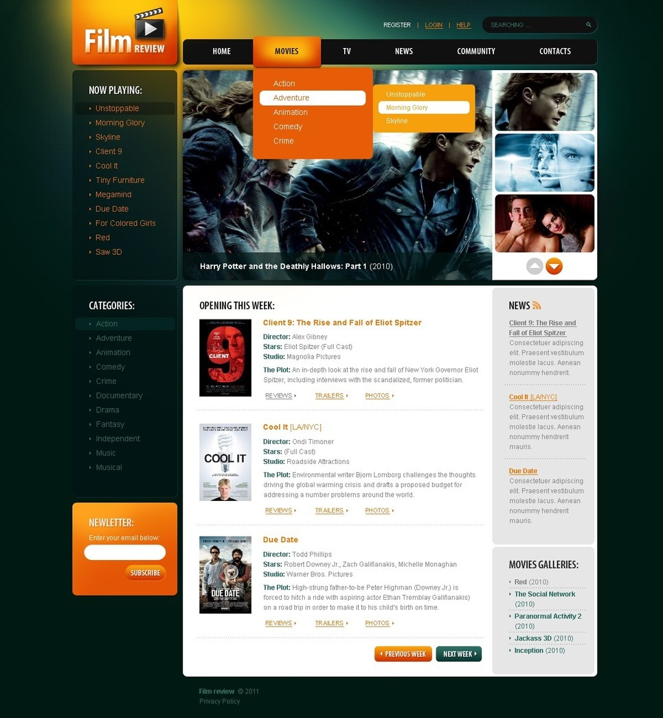 Movie PSD Template New Screenshots BIG