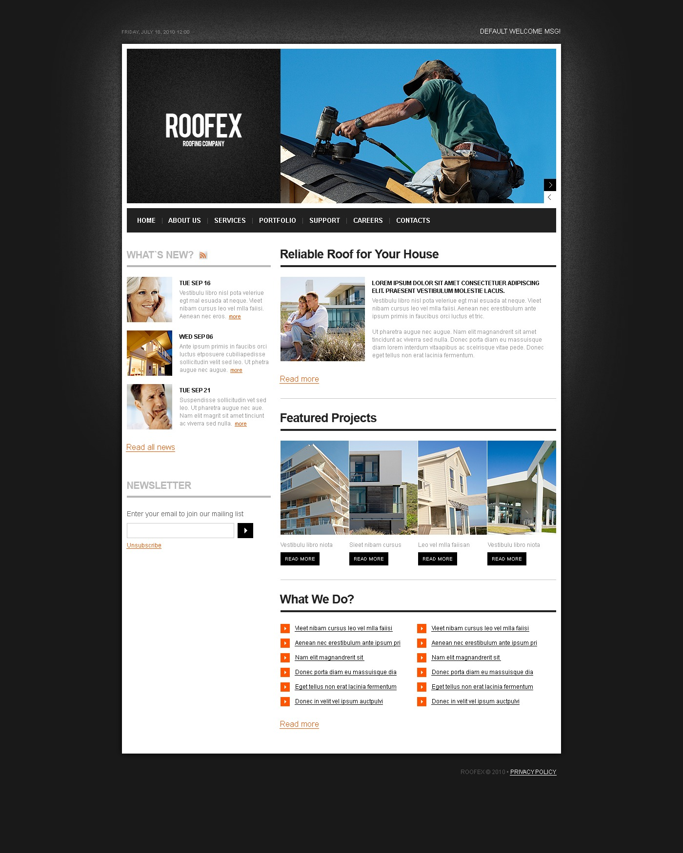 Roofing Company PSD Template - screenshot