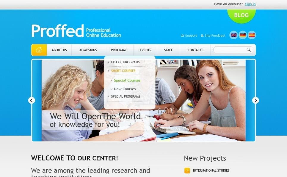Plantilla PSD #56496 para Sitio de Educación New Screenshots BIG
