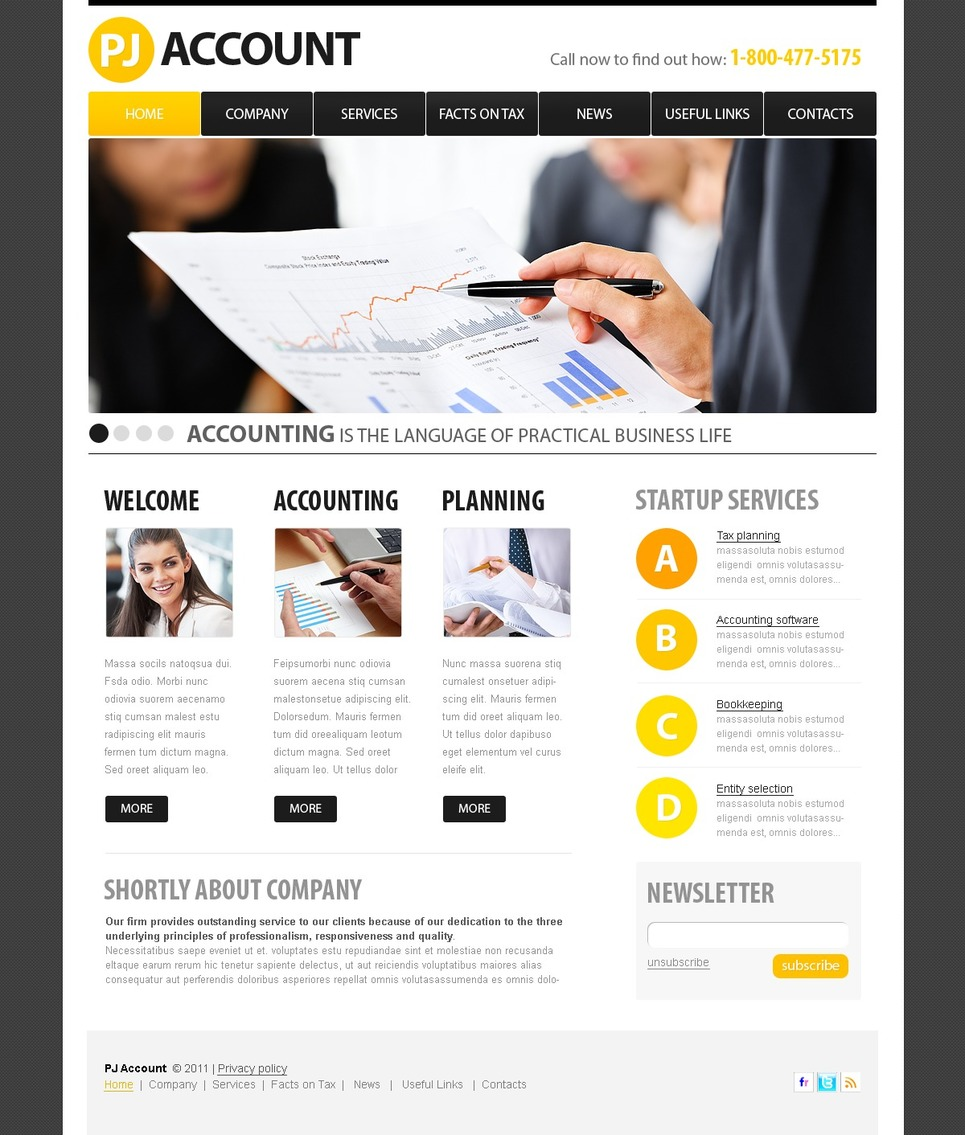 accounting website psd template 56409