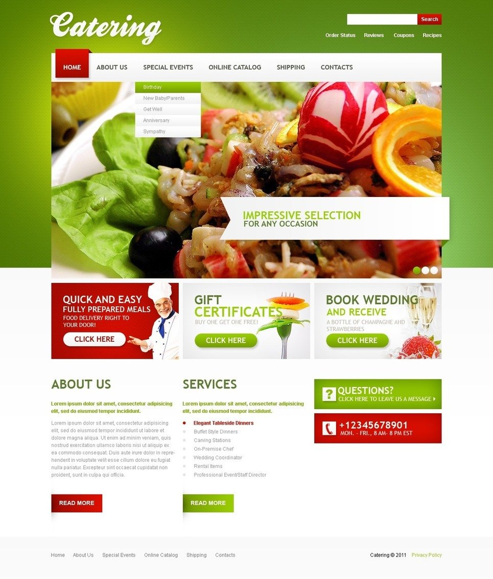 Catering PSD Template New Screenshots BIG