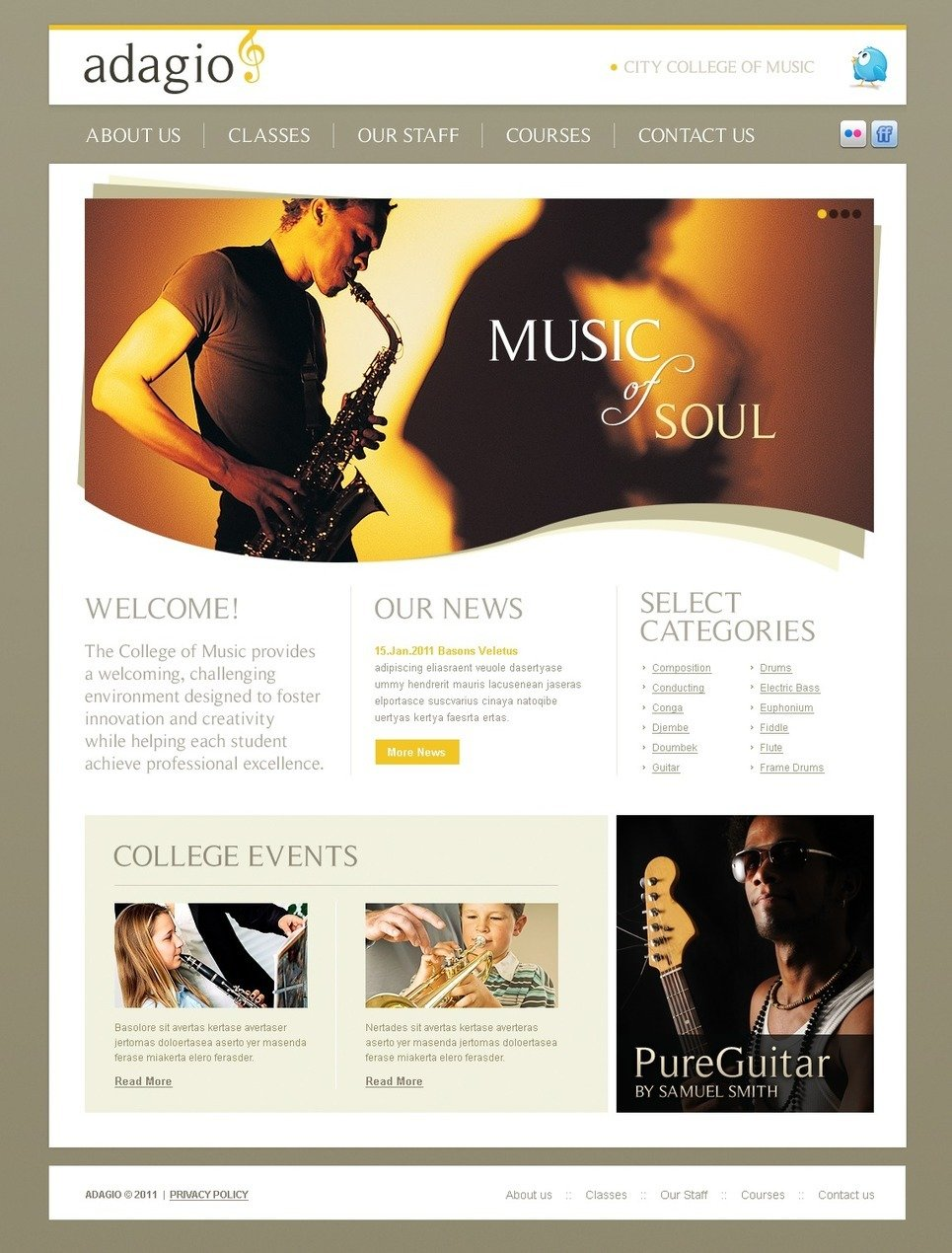 Music School PSD Template New Screenshots BIG