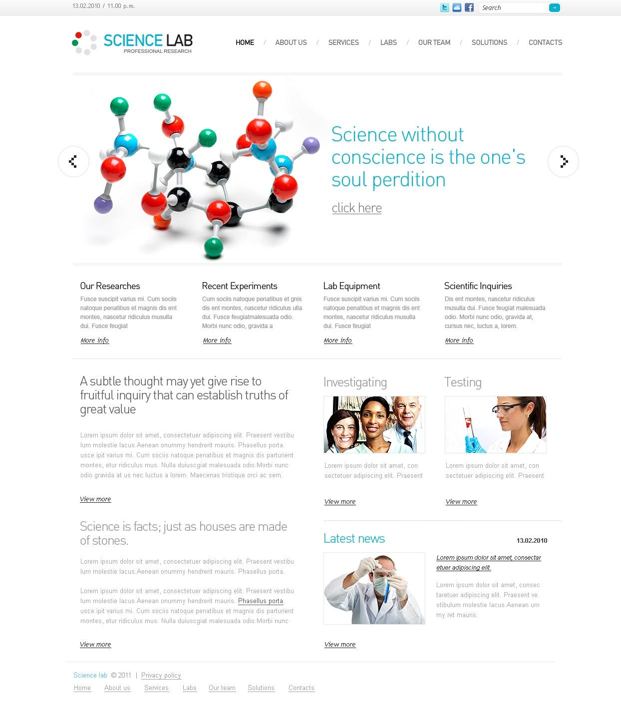 Plantilla PSD #56489 para Sitio de Ciencia