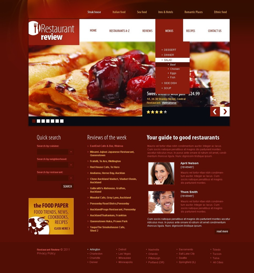 Restaurant Reviews PSD Template New Screenshots BIG