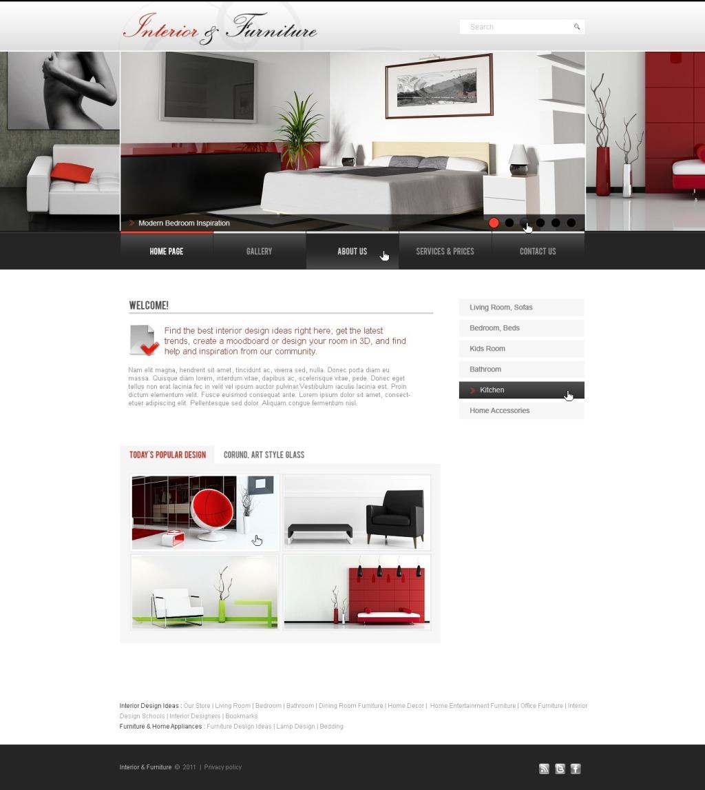 Tema psd 56434 per un sito di arredamento e design for Sito arredamento design